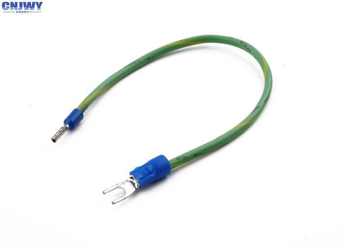 Copper Connector Custom Wiring Harness Green / Yellow Color With Spade Terminal